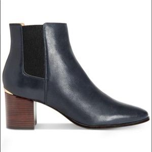 New Calvin Klein Felda Black Leather Ankle Boots